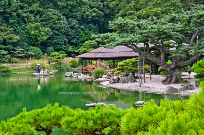 เที่ยวญี่ปุ่น เกาะชิโกกุ สวนริทสึริน (Ritsurin Garden) ร่มรื่น ป่าไม้สีเขียว
