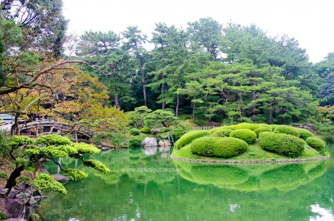 เที่ยวญี่ปุ่น สวนริทสึริน (Ritsurin Garden) ชมสวนสวยอลังการ ป่าสนโบราณ ล่องทะเลสาบเงียบสงบ ที่ชิโกกุ