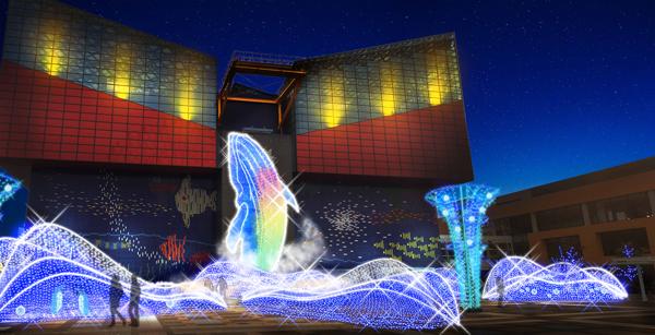 เที่ยวญี่ปุ่นฤดูหนาว 5 เทศกาลประดับไฟในโอซาก้า Osaka Aquarium Kaiyukan (Tempozan) Illumination