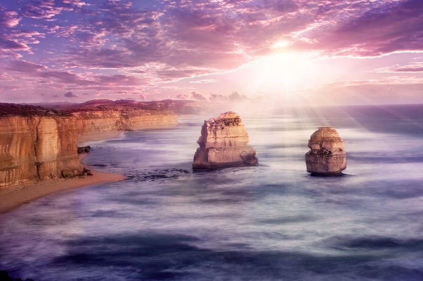 เที่ยวออสเตรเลีย อาทิตย์ตกที่ 12 Apostles มองจากริมถนน Great Ocean Rd., Australia