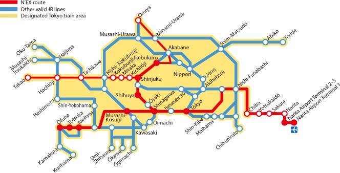 เส้นทางทั้งหมดของ Narita Express (N'EX) แต่ไม่รวมที่วิ่งไป Kawaguchiko