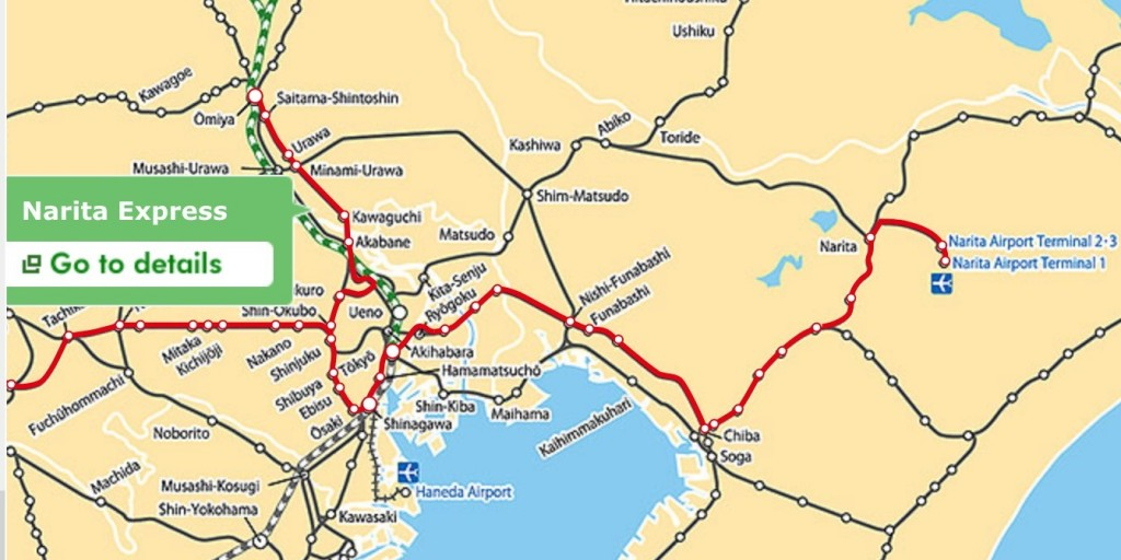 เส้นทางรถไฟสาย Narita Express บนแผนที่จริง