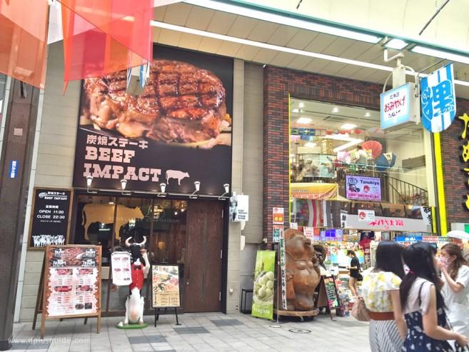 มาลองชิมสเต๊กวากิวย่างด้วยถ่าน ที่ร้าน Beef Impact ที่สาขาทะนุกิโคจิ (Tanuki Koji) ซัปโปโร ฮอกไกโด