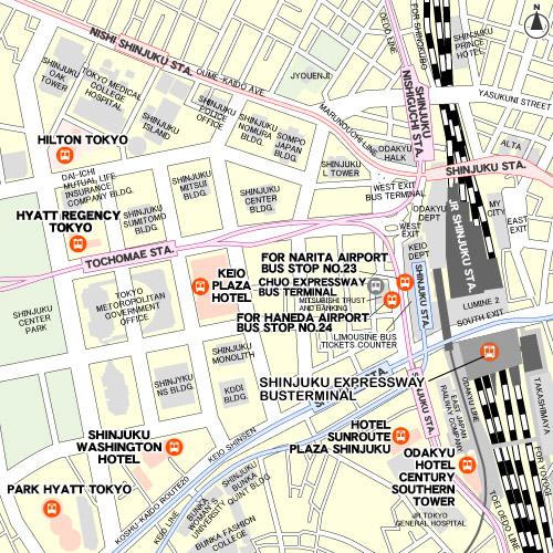 แผนที่แสดงป้ายจอดรถจุดต่างๆ ของ Airport Limousine Bus สาย Shinjuku