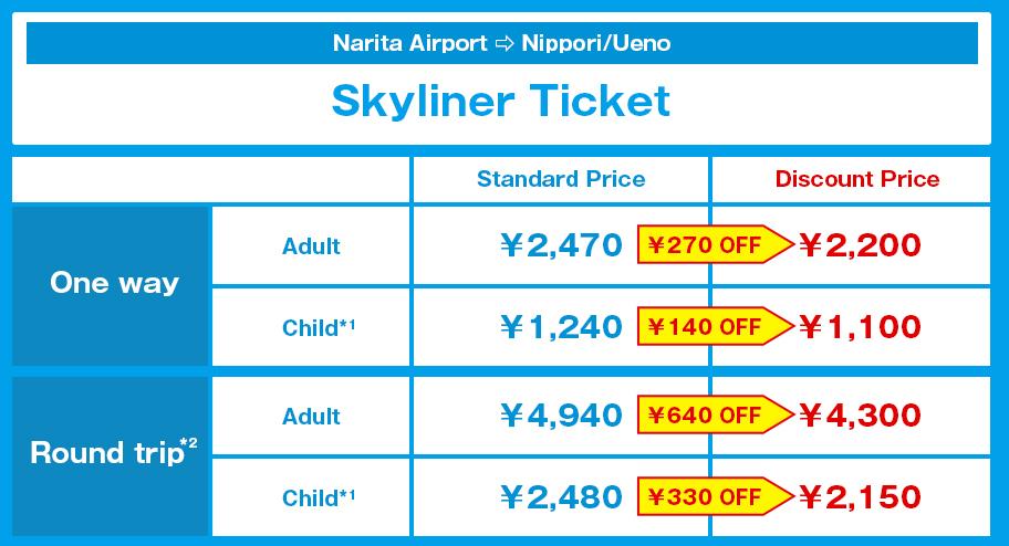 ราคาตั๋ว Keisei SKyliner แบบซื้อล่วงหน้าแล้วมีส่วนลด