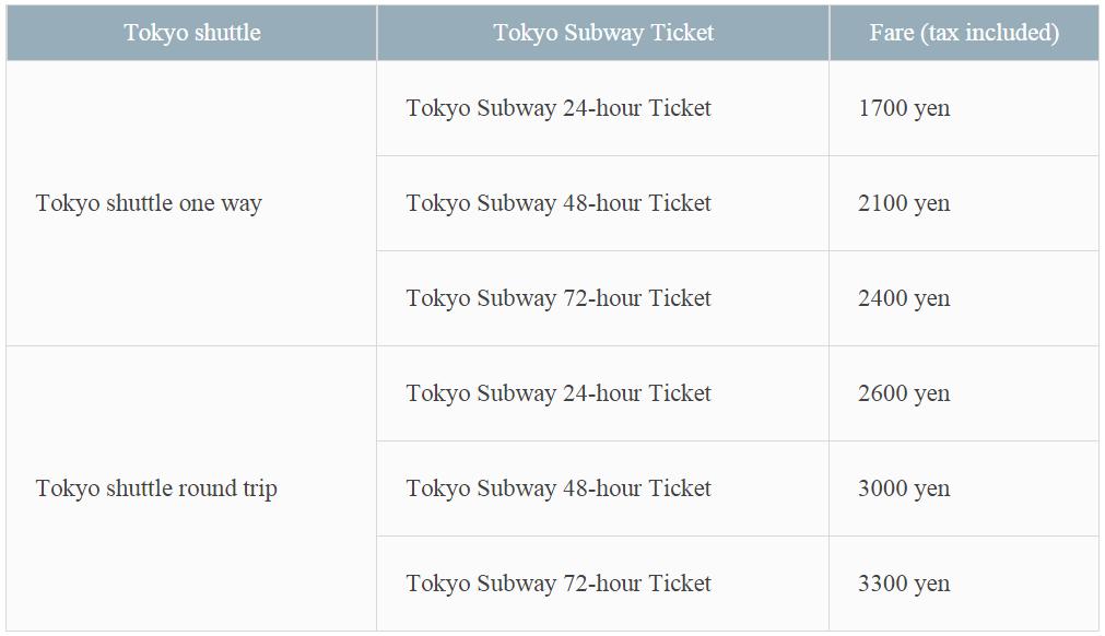 ราคาเมื่อซื้อตั๋ว Keisei Bus เที่ยวเดียวหรือไปกลับ พร้อมกับ Tokyo Subway Ticket แบบ 24, 36 หรือ 72 ชั่วโมง