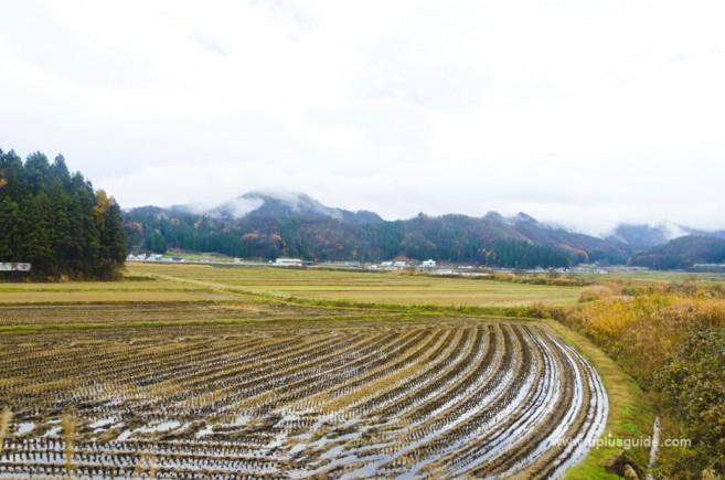 วิวริมทางของจังหวัดฟุคุชิมะ จากบนรถไฟชินคังเซนออนเซนเคลื่อนที่ Torei-yu Tsubasa