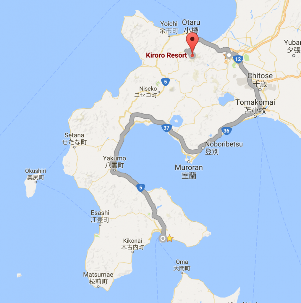 เส้นทางตามเรื่องแฟนเดย์จาก Kiroro Resort > Sapporo > Noboribetsu > Hakodate