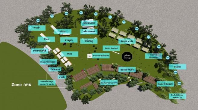 """แผนที่โซน หมู่บ้าน 5 ภาค ภาคใต้ """"ปักษ์ใต้…ปักหมุดหยุดเวลา"""" เทศกาลเที่ยวเมืองไทย 2560 ณ สวนลุมพินี"""