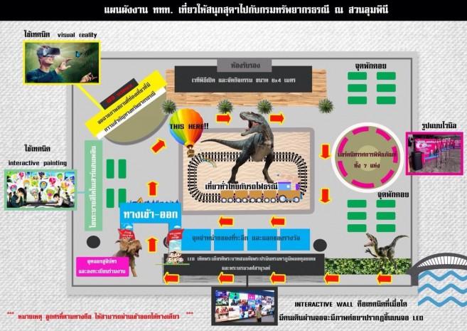 """โซน ไดโนเสาร์จำลอง """"มหกรรมเปิดโลกธรณีวิทยา"""" เทศกาลเที่ยวเมืองไทย 2560 ณ สวนลุมพินี"""