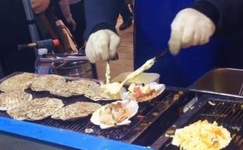 หอยเชลล์อบชีส สตรีทฟู้ดสไตล์เกาหลี ที่เมียงดง