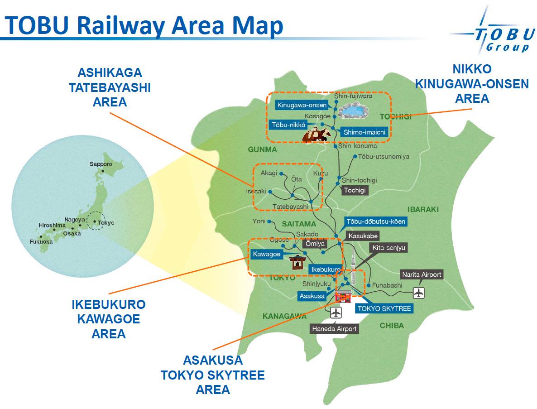 เส้นทางรถไฟ Tobu มุ่งสู่โซนสถานที่ท่องเที่ยวที่สำคัญ