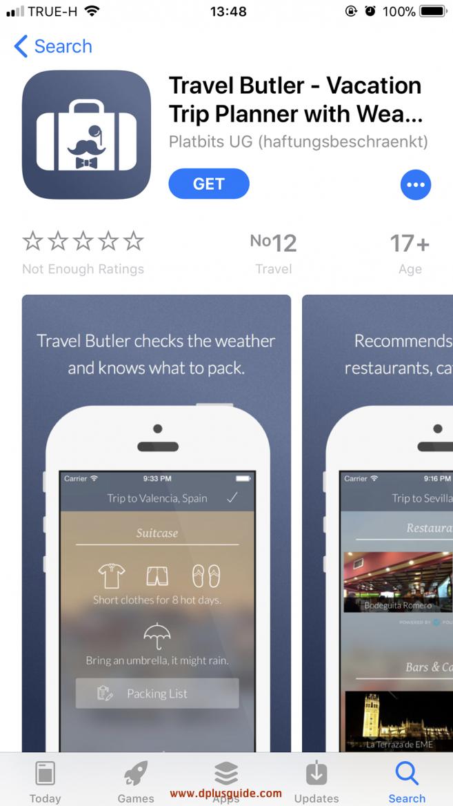 แอพ Travel Butler ดาวน์โหลดได้เฉพาะระบบ IOS นะคะ