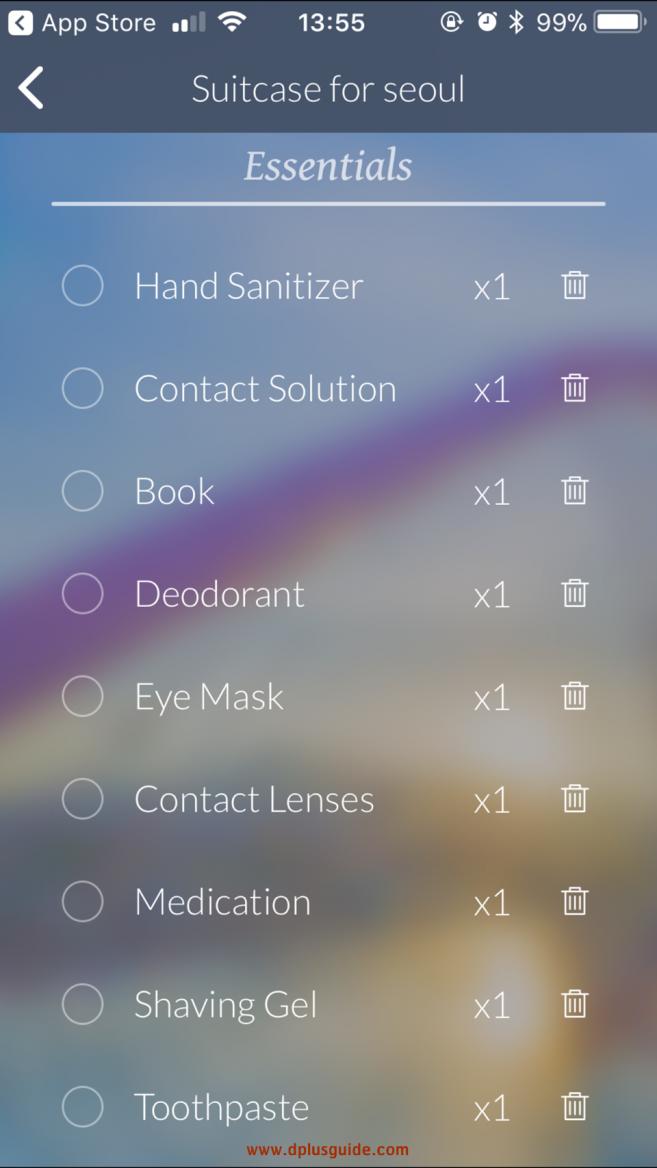 หมวด Essentialsของ App Travel Butler