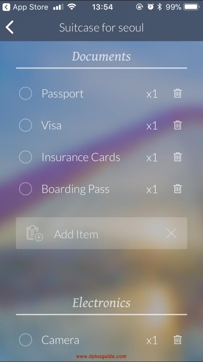 หมวด Documents เอกสารสำคัญต่างๆ และหมวดอุปกรณ์ Electronicsของ App Travel Butler