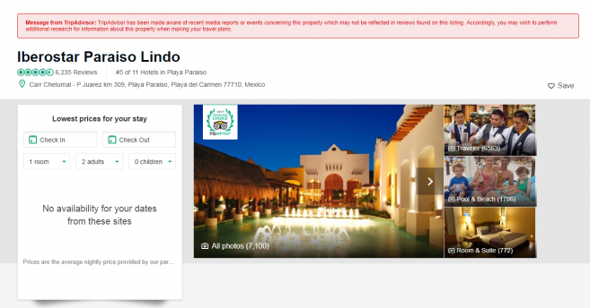 ตัวอย่างแถบเตือนสีแดงเหนือข้อมูลโรงแรมที่เคยเกิดเหตุอาชญากรรม ในเว็บ TripAdviser