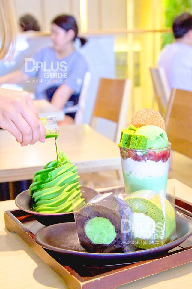เค้กและไอศกรีมรสชาเขียว